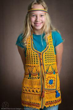 Dryad Vest (EAP) | Crocheted Vest Pattern for Kids 2-12 years | My Little CityGirl