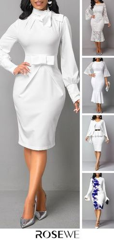 Take a look at this amazing shoes, shoes, Short African Dresses, African Fashion Dresses, Fashion Outfits, Womens Fashion, Classy Dress, Classy Outfits, White Dresses For Women, Dresses For Work, White Long Sleeve Dress