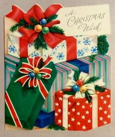Beautifully Wrapped Presents Bows Ribbon Vintage Christmas Greeting Card in Collectibles, Paper, Vintage Greeting Cards, Christmas Christmas Card Images, Vintage Christmas Images, Christmas Graphics, Old Christmas, Old Fashioned Christmas, Christmas Scenes, Antique Christmas, Retro Christmas, Vintage Holiday