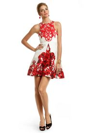 Red Rococo Print Dress. moses supposes his toeses are roses