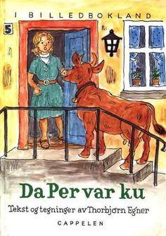 """""""Da Per var ku"""" av Thorbjørn Egner Reading, Painting, Books, Velvet, Livros, Libros, Word Reading, Painting Art, Book"""