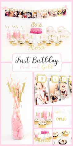 Pink and gold First Birthday Party. and lots of colour options more; mint, peach, lavender, silver... personalised cake topper, 12 months photo banner, cupcake toppers, party favour boxes and straws. One year old party decorations ideas.