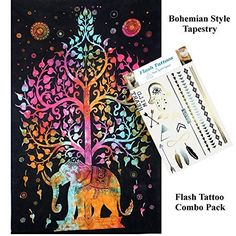 Your Spirit Space (TM) Combo Pack - Rainbow Good Luck Elephant Tapestry and Temporary Flash Bling Tattoos in Metallic Gold Silver and Black