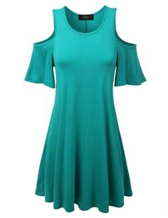 LE3NO Womens Short Sleeve Cut Out Shoulder Flared Tunic Dress