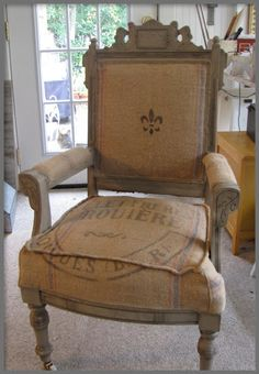 Antique Eastlake Victorian Chair Covered With Antique French Grain Sack,  With French Fleur De Lis Design