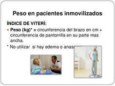 Peso en pacientes inmovilizadosÍNDICE DE VITERÍ: Peso (kg)* = circunferencia del brazo en cm +circunferencia de pantor... Edema, Arms