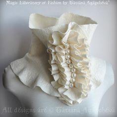 Scarf Cowl Neckpiece Ivory Felted Merino,Silk Huge, Frill Accent Huge Pearls Beaded /Beauty Parade/  Fashion Glamour. $120.00, via Etsy.