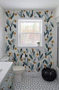 Bathroom Mural, Bathroom Accent Wall, Bathroom Accents, Bathroom Wallpaper, Bathroom Colors, Bathroom Fixtures, Small Bathroom, Colorful Bathroom, Bathroom Closet