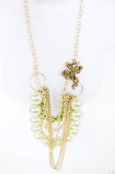 Pearls & Crystal Necklace Vintage Inspired - Old Hollywood Glamor, Burlesque, Pin-Ups - Boho Luxe Jewelry