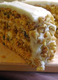 Recipe | Triple-Layer Carrot Cake {Copycat} ... Like the Starbucks dessert, this cake is jam-packed with carrots, fruit and peel. The secret ingredient in this recipe is one whole orange. Hand-finished with cream cheese frosting and a sprinkling of crunchy walnuts, this delicious triple-layer cake will tantalize all your senses!