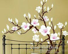 white flower wall decal cherry blossom vinyl wall decals wedding wall decals office Nursery wall sticker - Huge Magnolia Z181 cuma