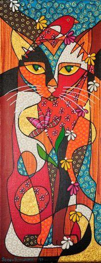 Folk Art Cat Painting by Gail Younts Cat Drawing, Painting & Drawing, Wal Art, Illustrations, Illustration Art, Posca Art, Cat Quilt, Cat Colors, Arte Pop