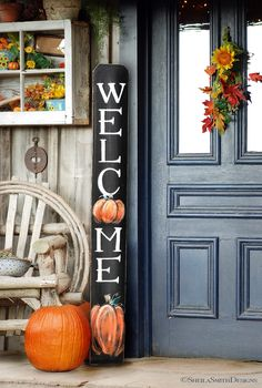 WELCOME SIGN Rustic Pumpkin Wood Welcome Sign Vertical front door welcome sign autumn welcome sign Fall welcome sign Autumn Decor Fall Fall Signs, Fall Wood Signs, Front Door Decor, Front Porch Fall Decor, Front Doors, Porch Decorating, Decorating Ideas, Decor Ideas, Fall Home Decor