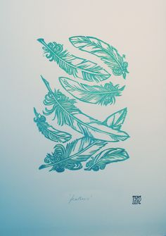 'Failling Feathers' Lino-print - @Chloe McGlashen, I always think of you when I see feathers....!