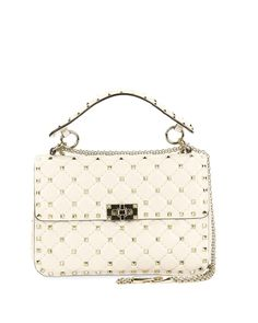 7586104473ae Valentino Garavani s Medium Spike Quilted Shoulder Bag in light ivory. -  Front flap - Turn