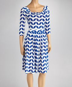 Take a look at this Blue & White Retro Drape Neck Dress by Reborn Collection on #zulily today!