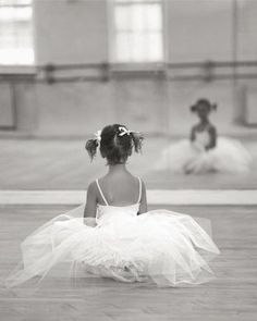 This little darling is getting ready for her ballet session.