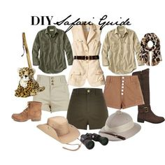DIY Safari Guide Costume by ayemyree on Polyvore featuring River Island, AX Paris, Yoki, Forever 21, Vince Camuto, Celestron and Banana Republic
