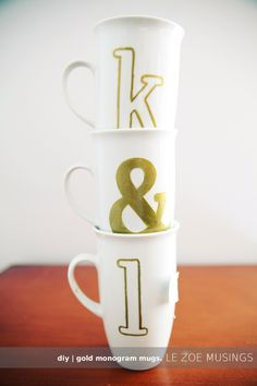 All you need is a gold pen to make these adorbs monogram mugs! Great and inexpensive gift options.