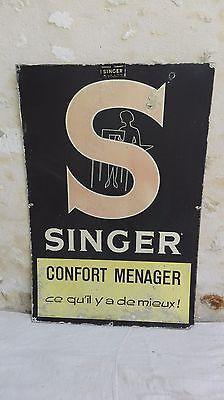 """Plaque/panneau SINGER publicitaire/en fibre/S/""""Singer confort Ménager""""/années 60"""