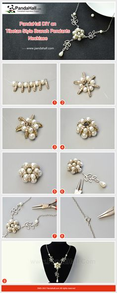 How to Make Tibetan Style Branch Pendants Necklace Thread the pearl beads and cubic zirconia spacer beads into a flower shape, and then use Tibetan Style branch pendants to connect the chains to form a necklace! It is worth trying!