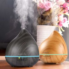 Easehold Essential Oil Diffuser, Wood Grain Ultrasonic Cool Mist Humidifier With Changing Led Lights Auto Shut-Off