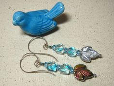 Iced Blue Leaves and Cubes by QuirkySuZdesigns on Etsy