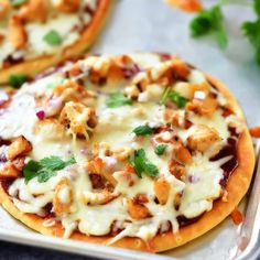 BBQ Chicken Flatbread Pizza is a flavorful pizza smothered with barbecue sauce and loaded with chicken, cheese, cilantro and red onion. Life-in-the-Lofthouse.com Bbq Chicken Flatbread, Chicken Alfredo Pizza, Barbecue Chicken Pizza, Flatbread Recipes, Flatbread Pizza, Pizza Recipes, Barbecue Sauce, Chicken Recipes, Cooking Recipes