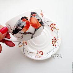 Купить Роспись фарфора Роспись по фарфору Сервиз чайный Снегири - роспись фарфора, роспись по фарфору
