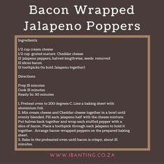 Bacon Wrapped Jalapeno Poppers, Stuffed Jalapeno Peppers, Banting Recipes, Baking Sheet, Cheddar Cheese, Cooking, Cheddar, Kitchen, Brewing