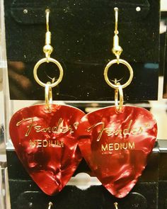 Fender guitar pick Dangle earrings by BANGLEDandROCKED on Etsy
