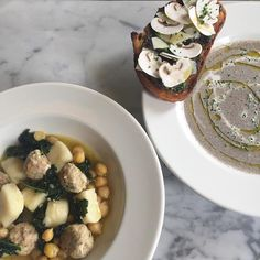 New additions to the lunch menu - Ricotta gnocchi, meatballs, kale and chickpeas. Also, cream of mushroom soup with duxelles toast Creamed Mushrooms, Stuffed Mushrooms, Ricotta Gnocchi, Lunch Menu, Mushroom Soup, Chickpeas, Kale, Sydney