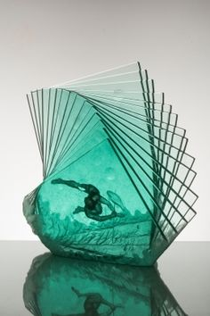 Kirra Galleries - The Spear In Hand Carved Laminated Glass By Peter Nilsson Art Of Glass, Blown Glass Art, Glass Artwork, Laminated Glass, 3d Studio, Glass Ceramic, Art Plastique, Glass Design, Fused Glass