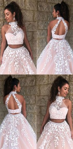 two piece pink prom dresses, simple high neck prom gowns, formal graduation part. two piece pink prom dresses, simple high neck prom gowns, formal graduation party dresses for teens dresses short Prom Dresses Two Piece, Simple Prom Dress, Formal Dresses For Teens, Cute Prom Dresses, Prom Outfits, Mermaid Prom Dresses, Pretty Dresses, Homecoming Dresses, Sexy Dresses