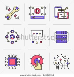 Set of vector icons into flat style.      Isolated Objects in a Modern Style for Your Design.