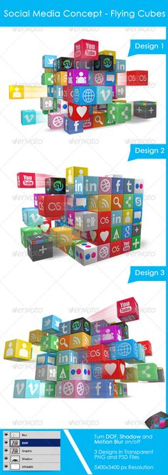 Social Media Concept - Flying Social media Cubes Use this cool 3D Social Media Icons Cube style graphic in your Presentations, Websites and other material and amaze your viewers.