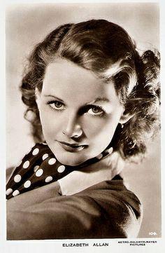 Elizabeth Allen. British postcard by Milton, no. 109. Photo: Metro-Goldwyn-Mayer.