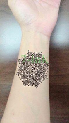 54ca7cccf813a Waterproof Temporary Tattoo Sticker black lotus mandala totem tattoo Water  Transfer fake tattoo flash tattoo 10.5*6cm