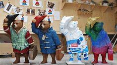 Find Paddington Bear in London! - Left to right: Paddington Shakesbear, Paddington Bear, Paddingtonscape and Paddington Sparkles. © Joe Pepler