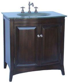 Adelina 32 inch Tempered Glass Top Bathroom Vanity