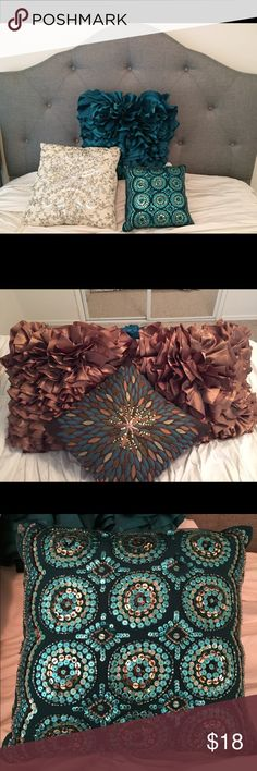 Pier1 flounce pillows & beaded pillows! ☁️ Originally from Pier1, these pillows are frilly, silky and fabulous, adding fun to any chair or bed. Comes in 2 colors, teal or bronze-gold. Also selling brown & white accessory pillows. Cover: cotton. Filling/flounce: polyester. Hidden zipper. Like-new condition! Pier1 Other