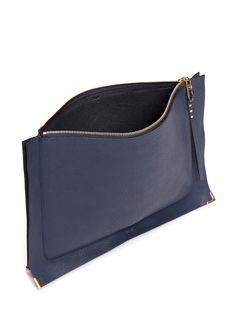 CHLOÉ - 'Ghost' grain leather flat pouch | Blue Clutches | Womenswear | Lane Crawford