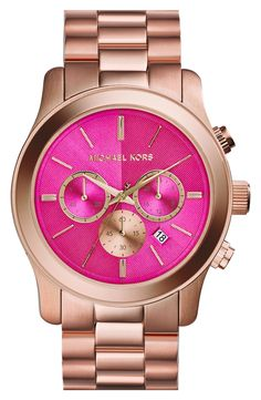 Michael Kors Rose and Gold Watch, a classic bracelet band is the perfect finish. This is a reason to start wearing watches again! Mk Handbags, Handbags Michael Kors, Michael Kors Outlet, Designer Handbags, Michael Kors Rose, Michael Kors Watch, Stainless Steel Watch, Stainless Steel Bracelet, Mode Orange