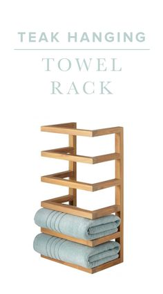 The Teak Hanging Towel Rack is a space-saving piece that brings a natural look to your bathroom. Fold and store your colored or embroidered towels and display your linens in style.