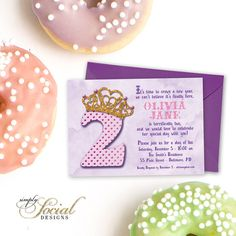 Second Birthday Party Invitation 2nd Crown Pink and Purple Gold Glitter Tiara Crown Polka Dots Story Book Lettering