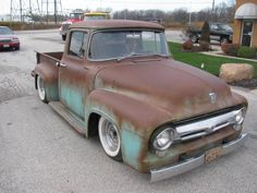 56 F100 ...why do people insist on ruining these beautiful trucks both aesthetically and functionally by dropping them?!