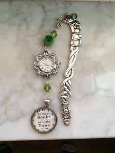 Pewter book hook. Watch does work. Handblown glass green apple, Swarovski Crystal.  $8