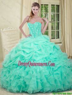2017 Elegant Apple Green Quinceanera Dresses with Beading and Ruffles