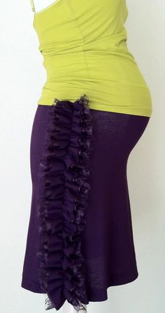 Plum Ruffle Maternity Skirt