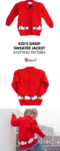 Kid's Sheep Sweater Jacket- Knitting Pattern via Makerist.com   #knittingwithmakerist #knitting #kidsclothes #diy #sweater #fashion #kidsfashion #knittingpattern